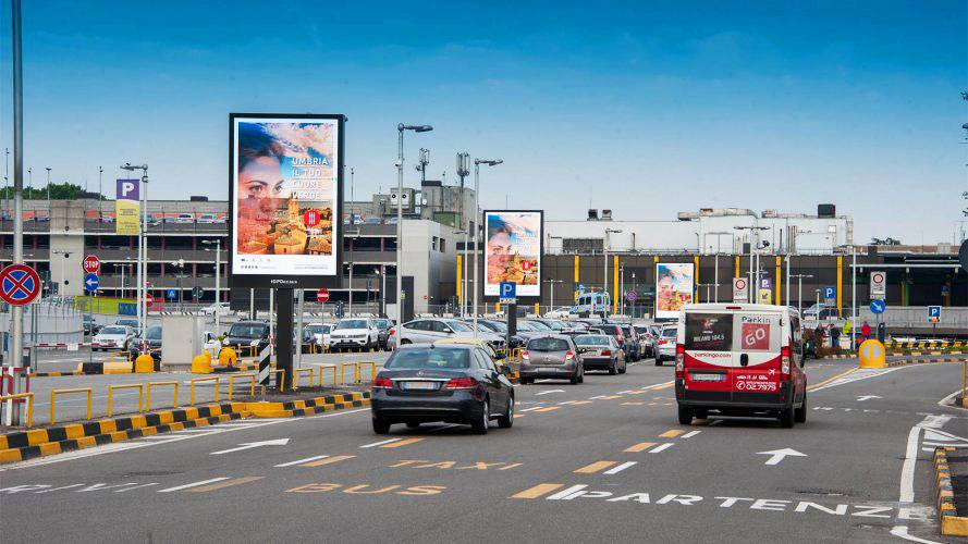 Airport advertising IGPDecaux 8sq m at Linate for Regione Umbria