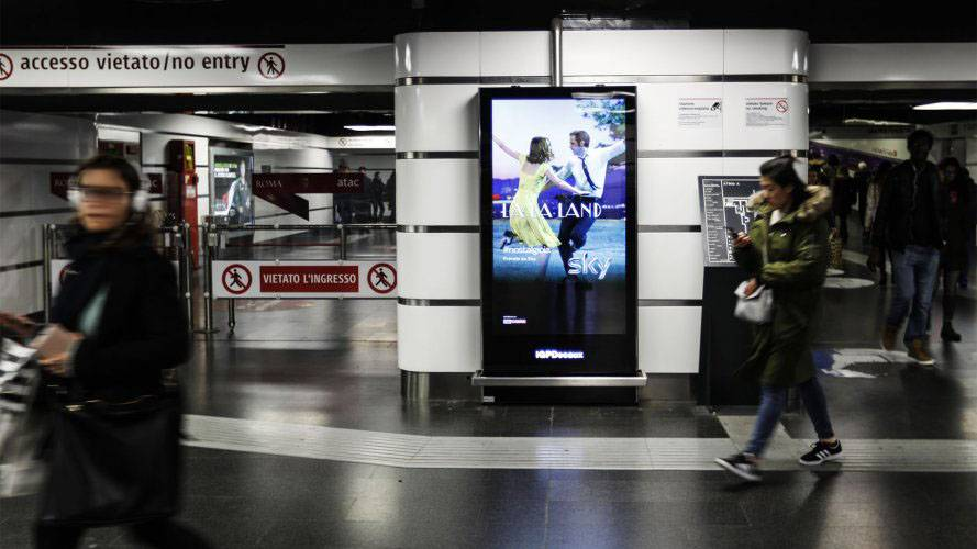 Underground advertising Rome IGPDecaux Underground Vision Network for Sky Brand