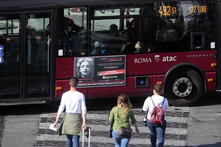 OOH IGPDecaux Panel 120 200x70 in Rome for Imperdibile Marylin exhibition