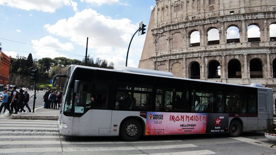 Bus advertising IGPDecaux Landscape Stickers in Rome for Virgin Radio