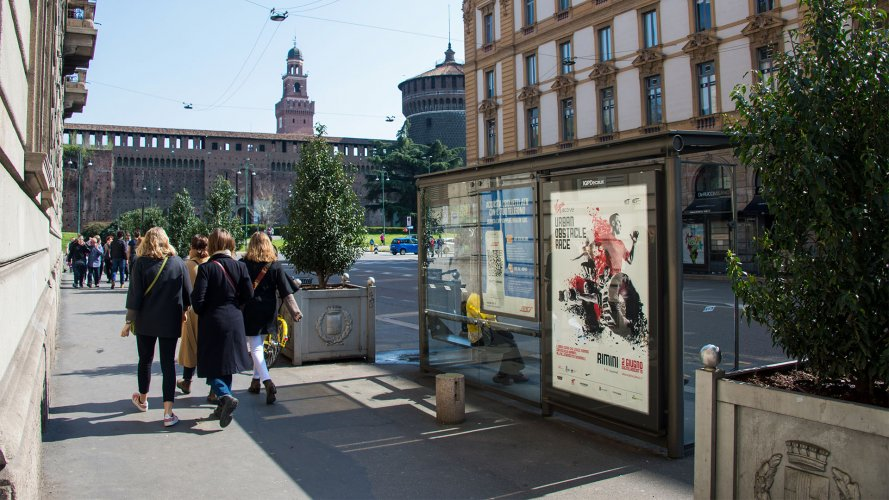 IGPDecaux Milan advertising brand shelter + Mupi for Virgin Radio