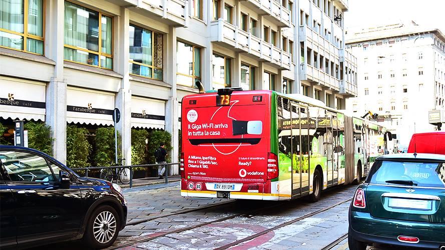 Advertising vehicles IGPDecaux FullBack in Milan forVodafone