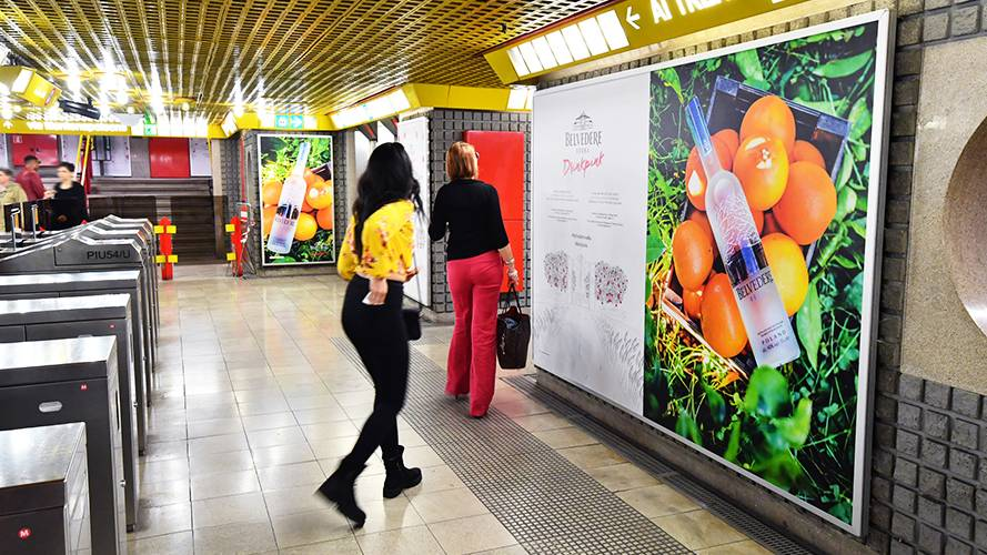 IGPDecaux underground advertising in Milan Station Domination for Vodka Belvedere