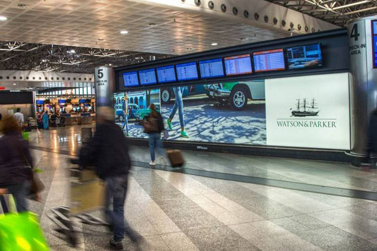 Airports advertising IGPDecaux Backlight at Malpensa for Watson&Parker